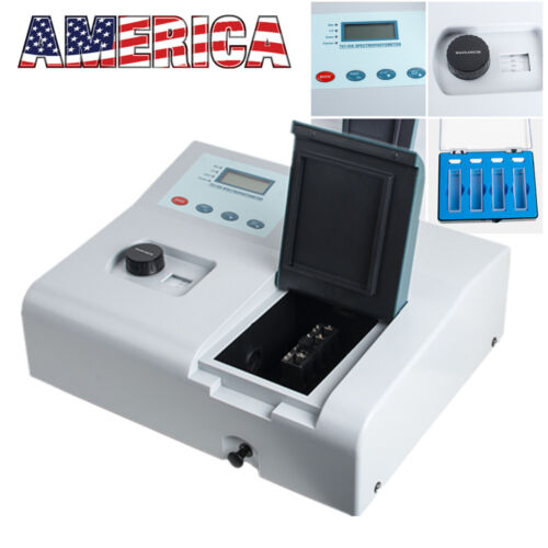 Visible UV Lab Digital Spectrophotometer 721 LCD 350-1020nm Tungsten Lamp USA CE