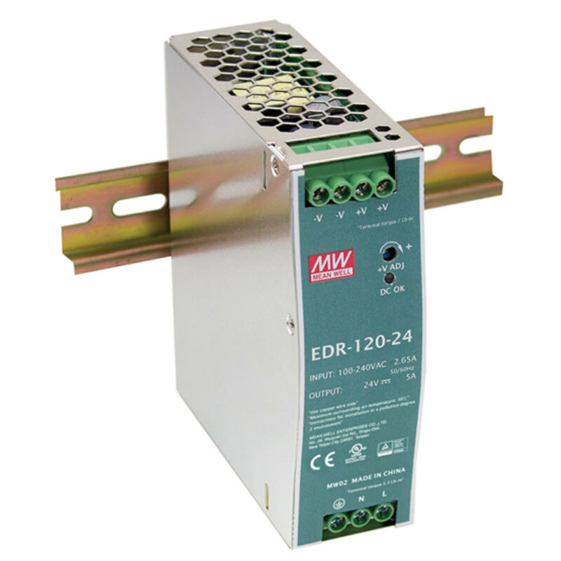 Mean Well EDR-150-24 Single Output Industrial DIN Rail Power Supply 24 Volts 6.5