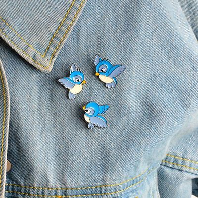 Blue Bird Pattern Cartoon Lovely Brooch Fashion Jewelry Pin Collar Badge
