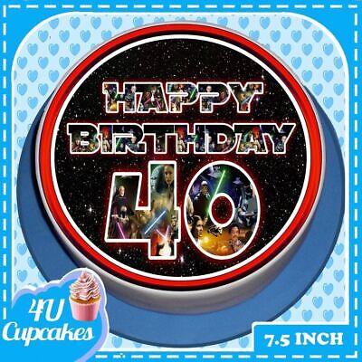PRECUT BIRTHDAY 40TH STAR WARS FONT  7.5 INCH ROUND EDIBLE CAKE TOPPER CC7943