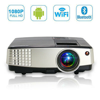 Android Wifi LED Home Theater Projector Bluetooth Wireless Movie HDMI USB VGA HD