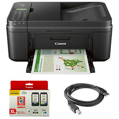 Canon PIXMA MX492 WiFi All-In-One Inkjet Printer w/ Genuine Canon Ink Bundle