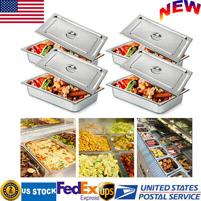 4-pan Full Size 4 Inch Deep Steam Table Pans W Lids Catering Food Warmer Buffet