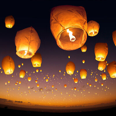 Paper Party Lanterns - HUGE Lot White Paper Chinese Lanterns Sky Candle Wishing Birthday Party Wedding