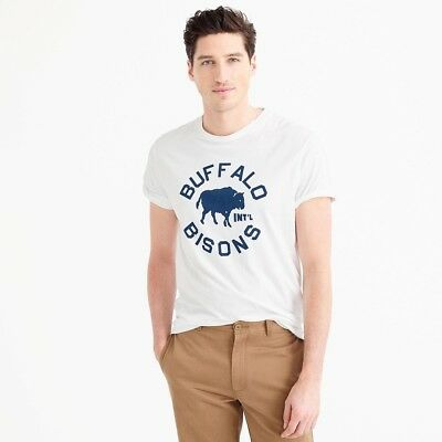 960aba1a Ebbets Field Flannels for J. Crew Buffalo Bisons Mens Baseball T-Shirt USA  NEW M
