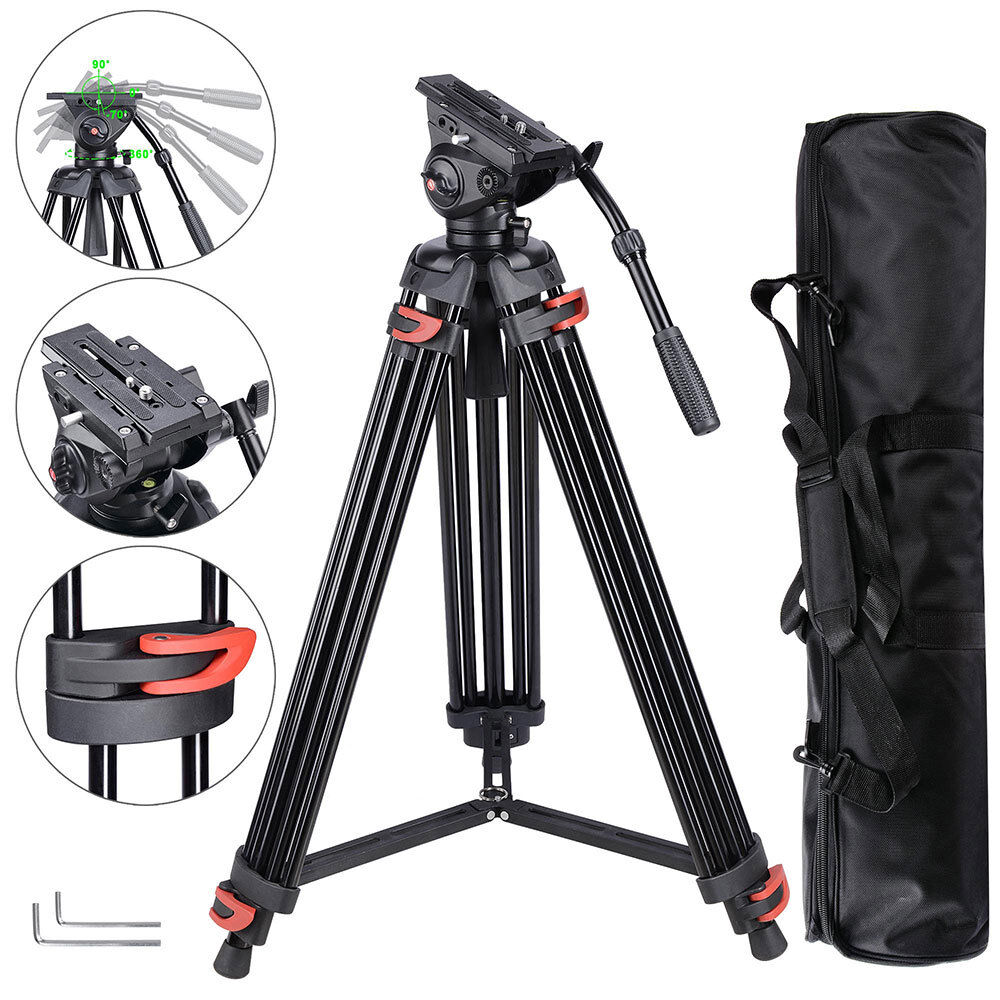 "71"" Professional DV Video Camera Aluminum Adjustable Tripod Stand Fluid Pan Head -   10 - 71″ Professional DV Video Camera Aluminum Adjustable Tripod Stand Fluid Pan Head"