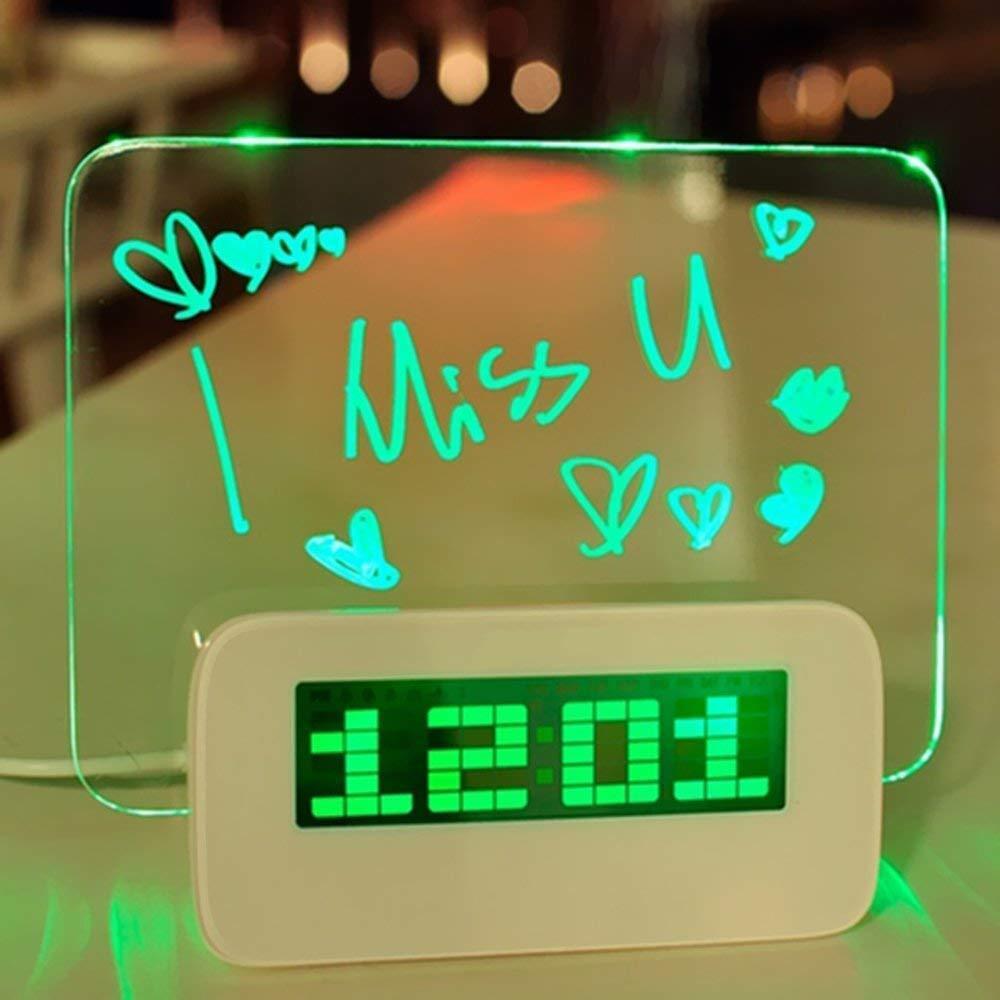 5 LED Digital Highlighter Erasable Message Board Alarm Clock 4 USB Ports (Green)
