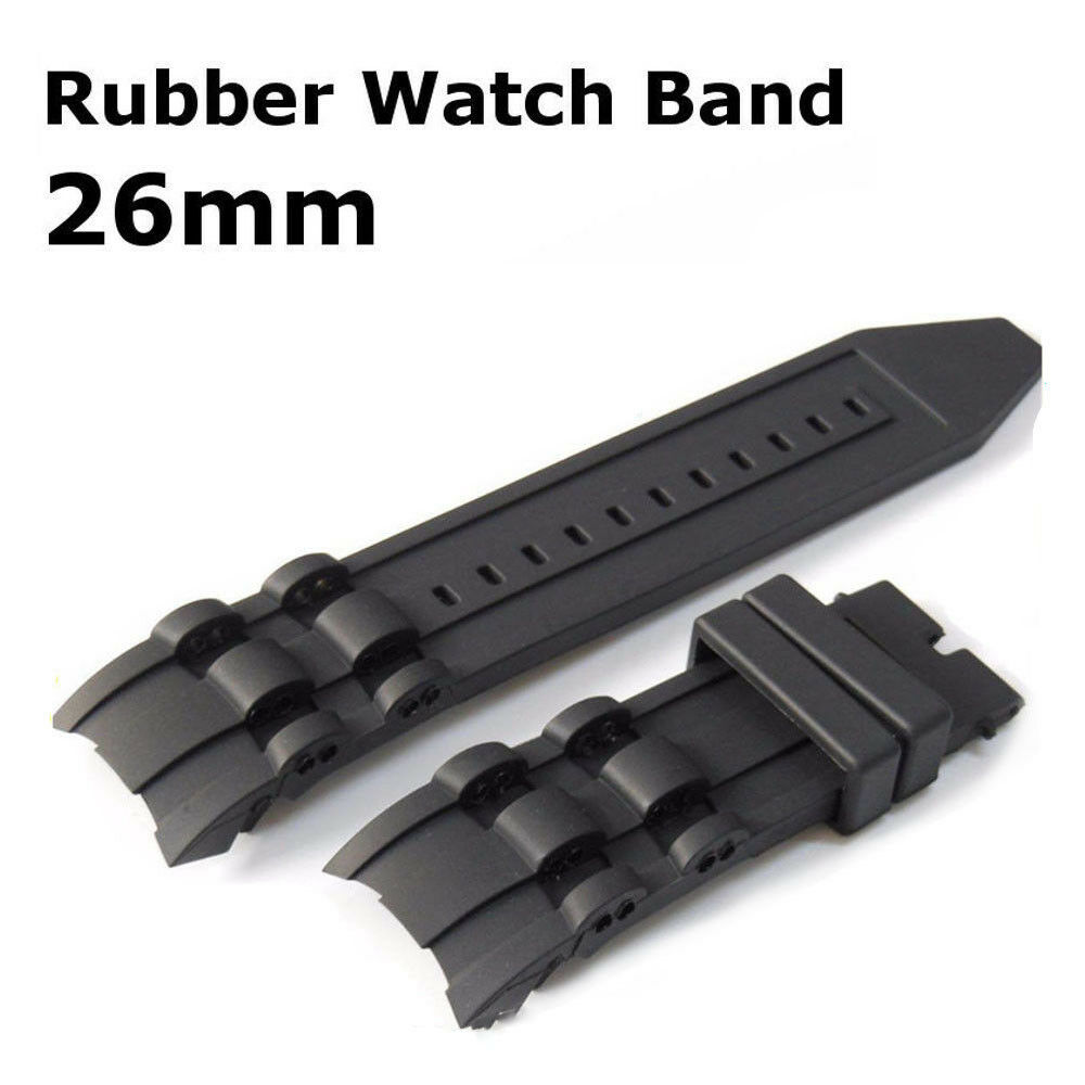 26mm Black Rubber Watch Band Strap For Invicta Pro Diver Chr