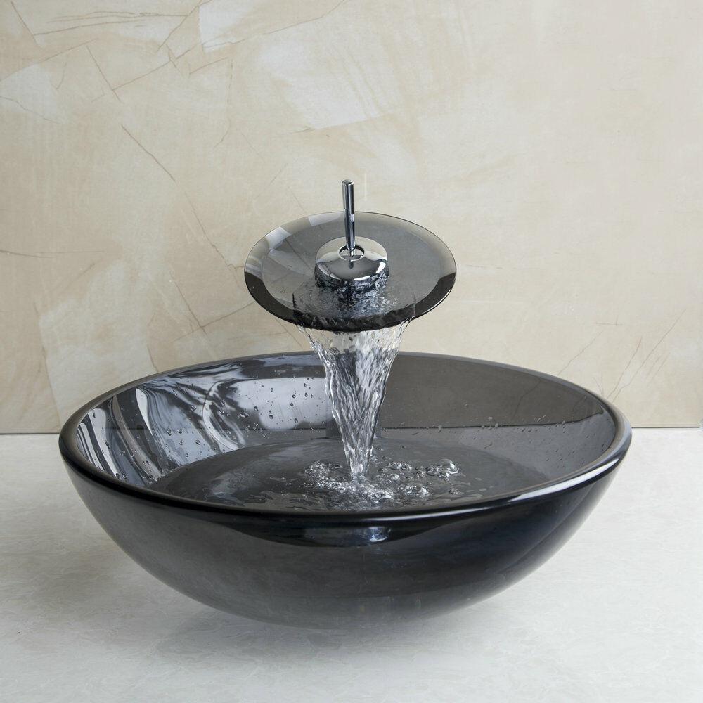 Tempered glass vessel bathroom round basin sink bowl - Bathroom tempered glass vessel sink ...