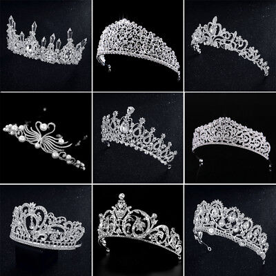 New Bridal Wedding Crystal Flower Tiara Crown Pearl Rhinestone Hair Headband (Pearl Tiara)