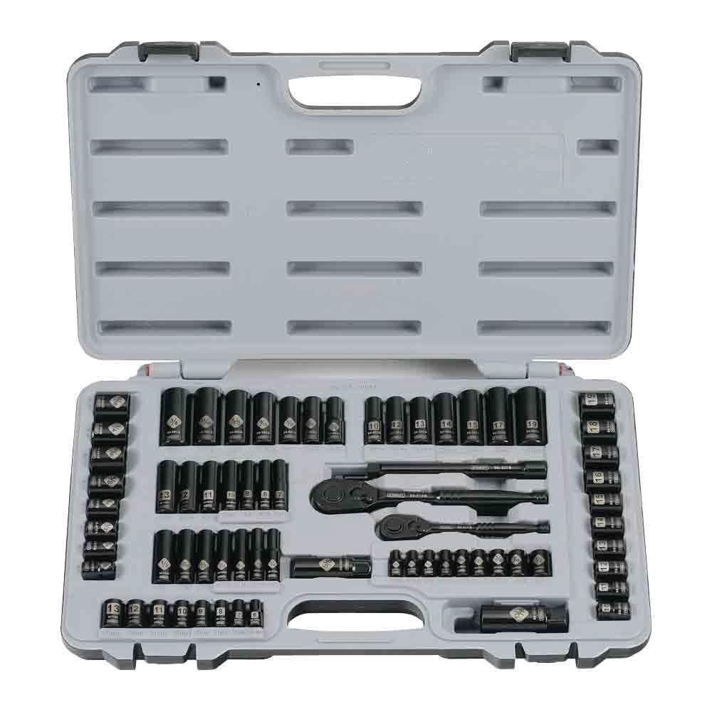 STANLEY 69-Piece Socket Mechanics Tool Set, Black Chrome | 9