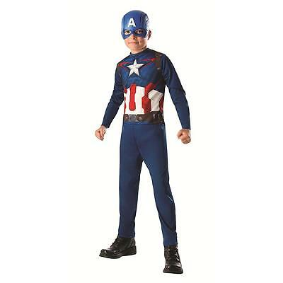 Kids Boys Captain America Halloween Costume Size Large 8-10 years jumpsuit mask
