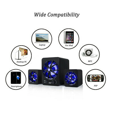 LED Computer Speakers Stereo Colorful USB Wired Super Bass M