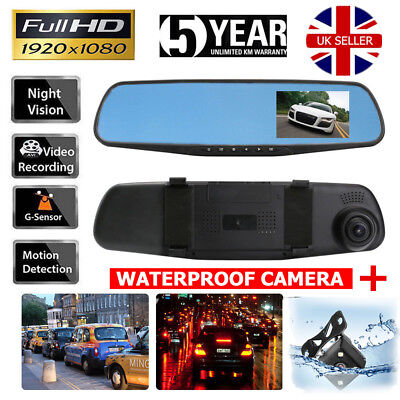 4.3'' Car DVR HD 1080P Dual Lens Auto Mirror Dash Cam Recorder Rearview Camera V