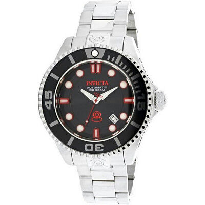 Invicta Grand Diver 19798 Mens Round Black Automatic Date Stainless Steel Watch