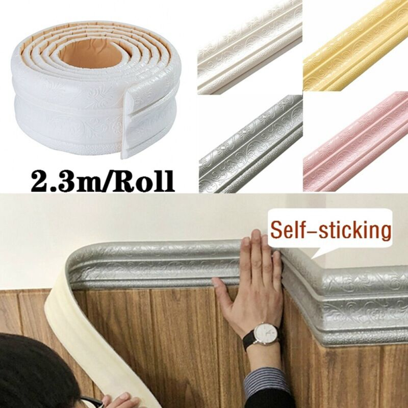 Home Decoration - Wall Sticker Home Wall Skirting Border 3D Self-Adhesive Sticker Decor Waterproof