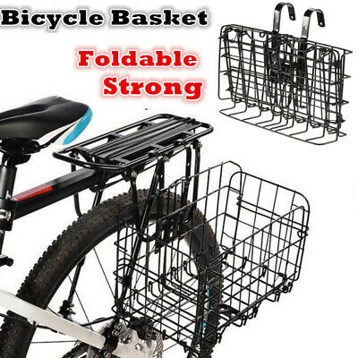 Foldable Bike Bicycle Metal Wire Basket Front Rear Sides Hanging Detachable USA