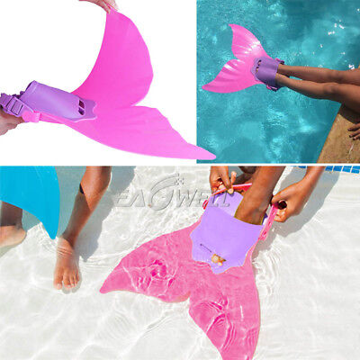 US Kids Girl Swimmable Mermaid tail Monofin Mono Fin Flippers Swimming Costume