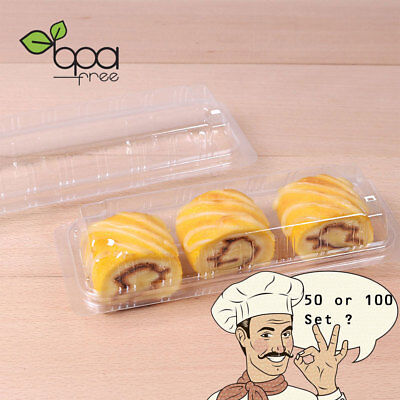 50/100set Rectangle Packaging Clear Lid Plastic Cake Box Container DD](Plastic Cake Containers)