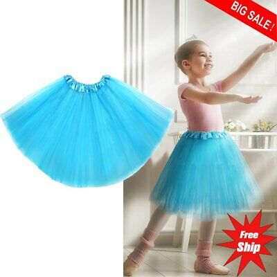 Classic Elastic Waistband Tutu Skirt 3 Layered Tulle Ballet Dress For Kid Girl - Blue Tutu For Adults