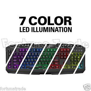 DE Tastatur Sharkoon Skiller PRO+ (Plus) beleuchtete 7 Farben LED Gamer Keyboard