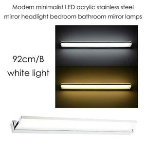 NEW Modern minimalist LED acrylic stainless steel mirror headlight bedroom bathroom bathroom mirror lamps,92cm/B,whit...