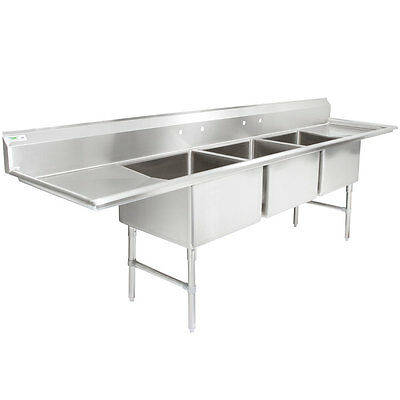124 3 Compartment Stainless Steel Commercial Pot Pan Sink With 2 Drainboards