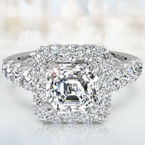 2.25 CT Asscher & Round Cut GIA Certified Diamond Engagement Ring 18k White Gold