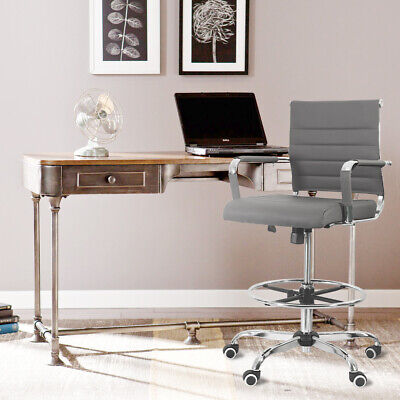 Computer Drafting Office Chair Pu Leather Height Adjustable Rolling Swivel Gray