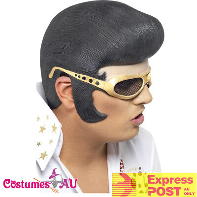 ELVIS Headpiece Rock n Roll The King 1950s Mens Costume Accessories Wig Glasses