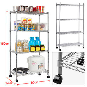 chrome kitchen storage racks chrome shelving unit ebay 5421