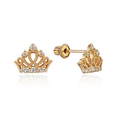 14k gold earrings for toddlers 14k yellow gold princess crown stud children screwback 1897