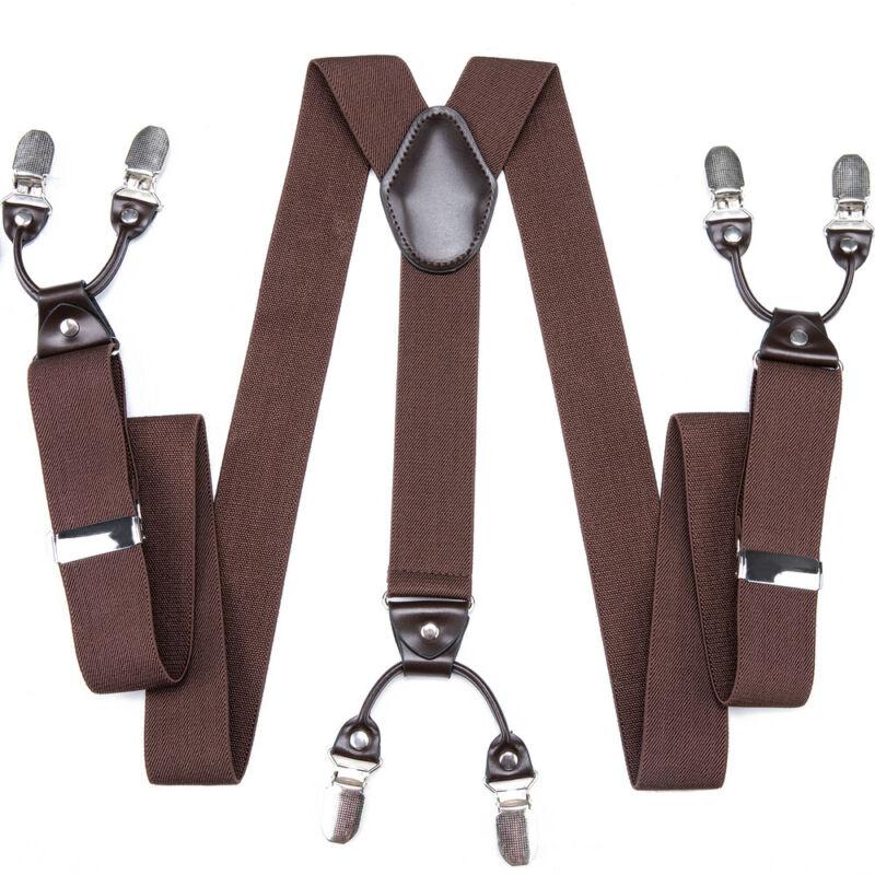 Dibangu Solid Brown Men Adjustable Belt Suspenders Elastic Y Back Clip-on Braces