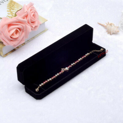 Deluxe Black Velvet Bracelet Necklace Watch Box Case Pendant Chain High Quality