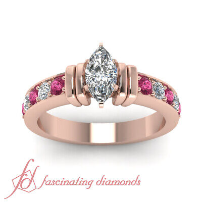 1.50 Carat Rose Gold Marquise Cut Diamond Rings With Pink Sapphire Gemstone GIA 1