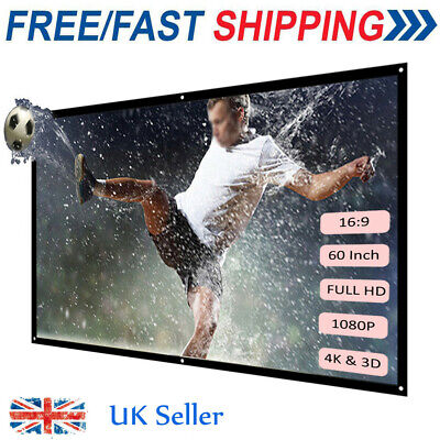 """60"""" 84"""" 100 """" Portable Foldable Wall Projector Screen 16:9 Movies Home Theater"""