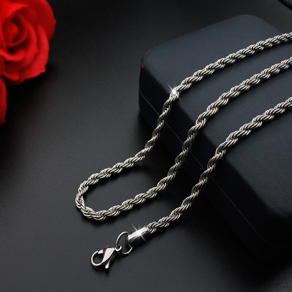 Jewellery - Hot man women 316L Stainless Steel 2mm/3mm/4mm/5mm Silver Rope Chain Necklace