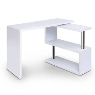 Office Computer Desk Corner Table w/ Bookshelf White Home Offic