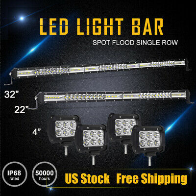 32Inch LED Light Bar Combo  22in 4 Pods Spot Offroad SUV 4WD ATV Truck vs 42