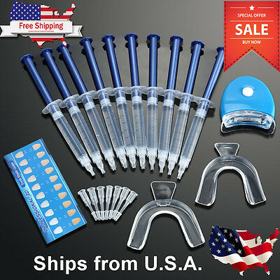 Teeth Whitening Kit  10  Tubes  2  Trays  1  White Led Light Best 44  Cp Gel Usa