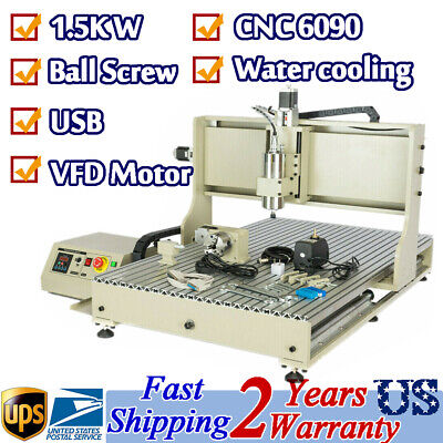 4 Axis Cnc Router 6090 Milling Machine Usb 1.5kw Vfd Spindle 3d Carving Engraver