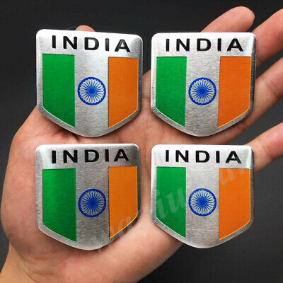 4x India Indian Shield Flag Car Emblem Badge Motorcycle Gas Tank Sticker Decals