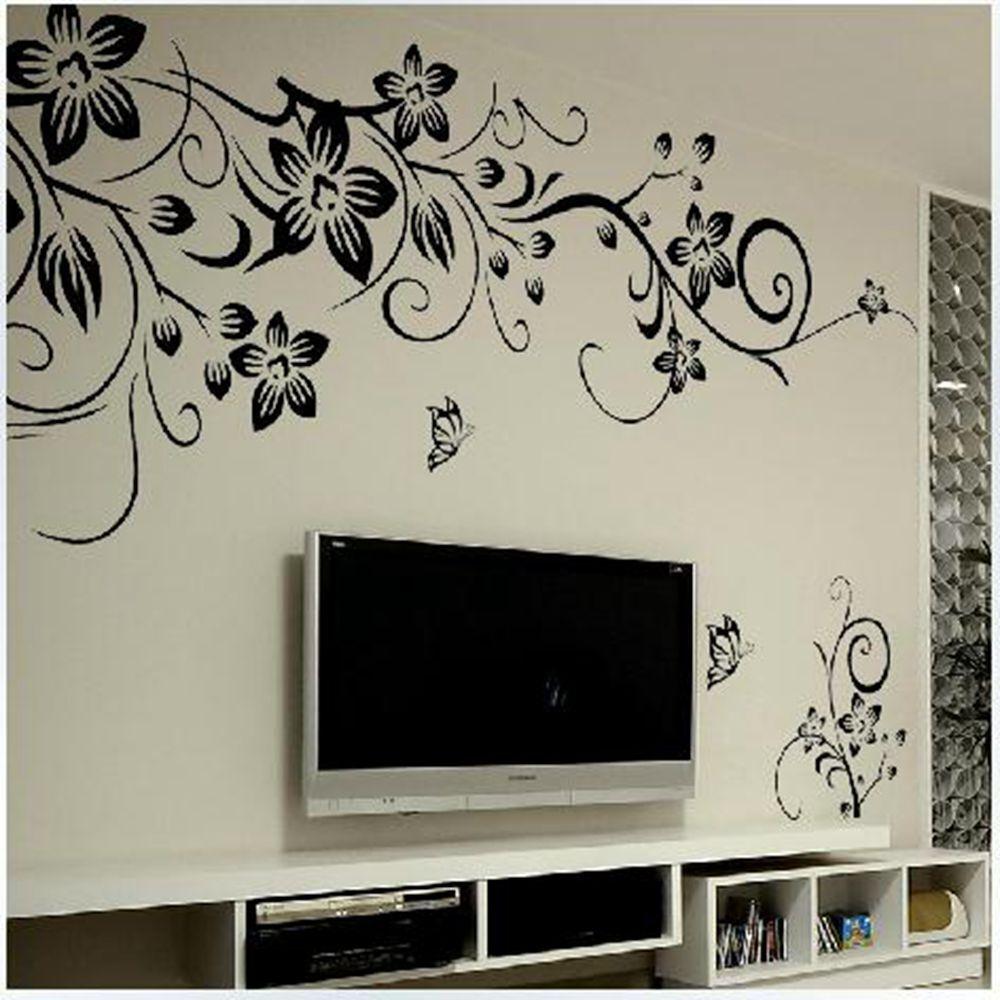 Diy Home Decor Mural Black Flower Butterfly Living Room Wall