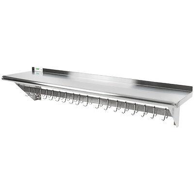 15 X 60 Stainless Steel Wall Pot Pan Rack Shelf Hooks Restaurant Commercial