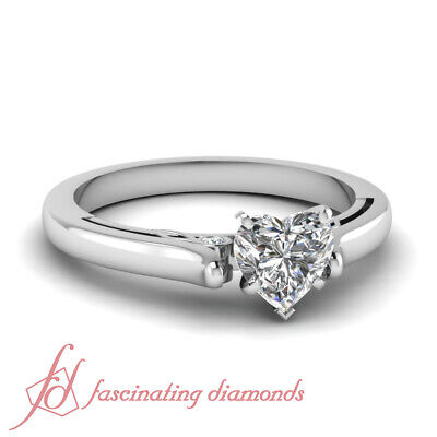 Cathedral Wedding Ring With 1/2 Ct Heart Shape Natural GIA Certified Diamond GIA 1