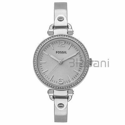Fossil Original Es3225 Womens Georgia Silver Stainless Steel Watch 32Mm