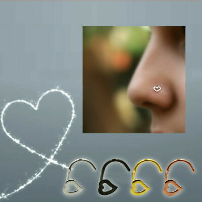 Colorful Surgical Steel Heart Shaped Nose Ear Tragus Stud Piercing Jewelry Ring