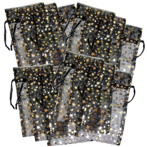 12-PAK__DECORATIVE ORGANZA GIFT JEWELRY POUCHES BLACK w/GOLD STARS
