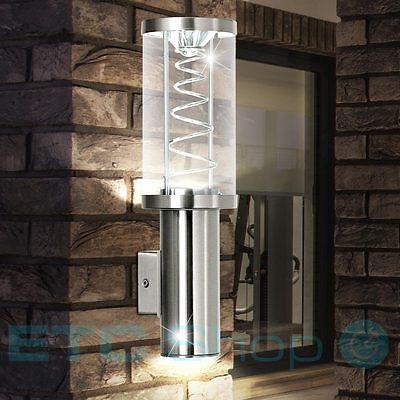 Luxus LED Außen Wand Leuchte Edelstahl Veranda Glas Lampe Spiral Form EEK A+
