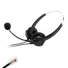 4PIN RJ11 Casque Téléphonique Binaural écouteur Headsets MIC pour Centre Appel